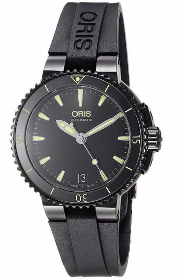Reloj Oris Aquis Acero Caucho Negro Mujer 73376524722rs