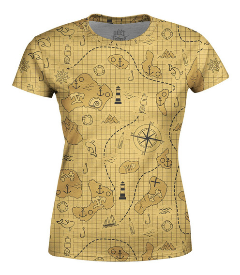 Camiseta Baby Look Feminina Mapa Do Tesouro Estampa Total