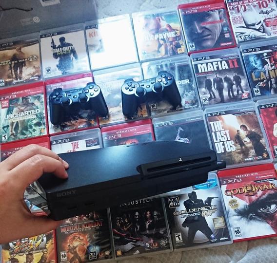 Playstation Ps3 500gb De Games+35 Em Bluray+2 Controles