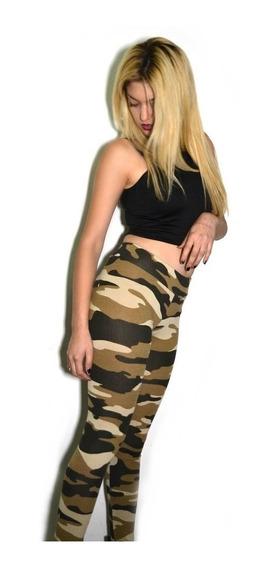 Calza Mujer De Lycra Elastizada Militar Diseño Camuflado