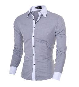 Camisa Social Casual Comprida Masculina Cinza Claro