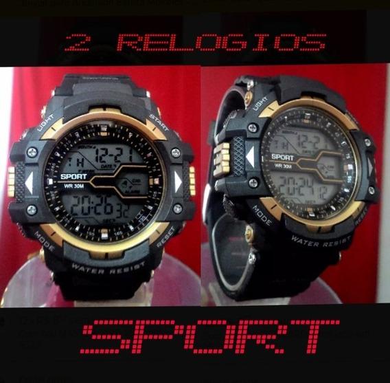 2 Relógio Pulso Masculino Preto Digital Militar Esportivo