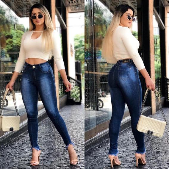 Calça Jeans Destroyed Barra Super Desfiada Luxo #linda