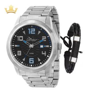 Relógio Condor Masculino Prata + Pulseira, Original + Nf