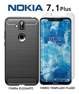 Funda Elegante + Templado Plano Nokia 7.1 Plus Rosario