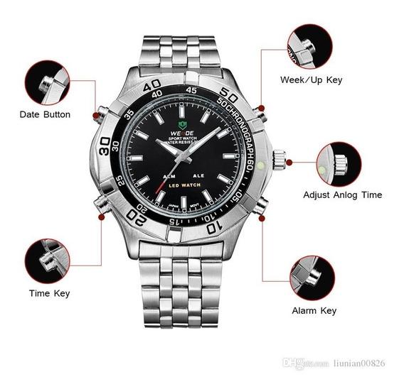 Reloj Weide Acero Wh905 Dual Time + Estuche