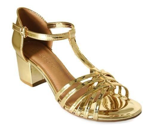 Sandalia Bebece Salto 5,5 Cm Grosso - 5215098 Dourado