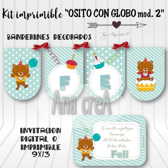 Kit Personalizado Osito Con Globo - Mod. 2 - Imprimible Oso