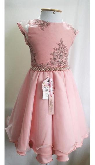 Vestido De Festa Infantil Rosa Tamanho 6
