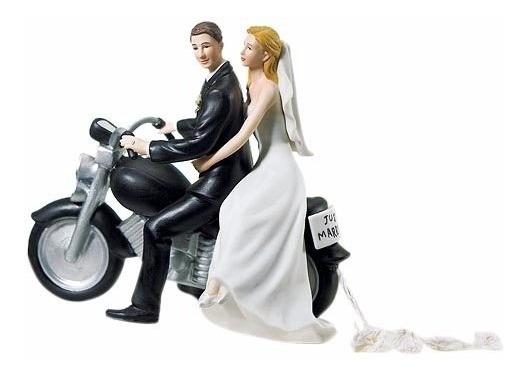 Muñecos De Novios Monos Figura Pastel De Bodas Motocicleta