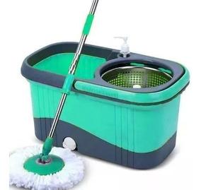 Balde Spin Mop 360 Dispenser Alça Esfregão Centrifuga Inox