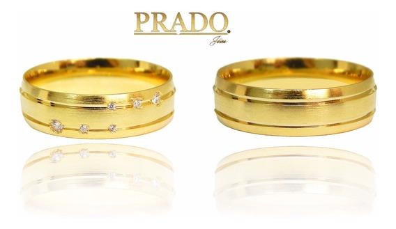 Par De Alianças Em Ouro 18k Fosca Com Diamantes
