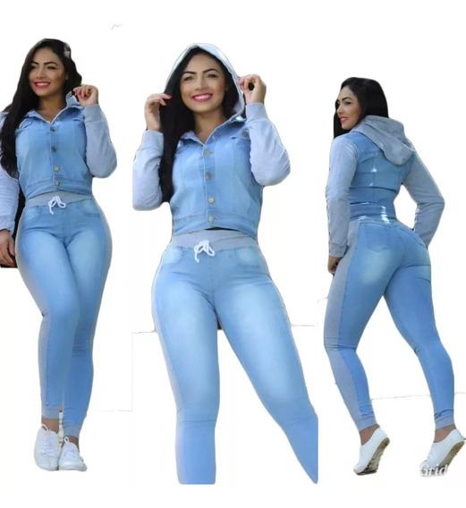 Conjunto Jaqueta E Calça Jeans Feminina Moletom E Capuz