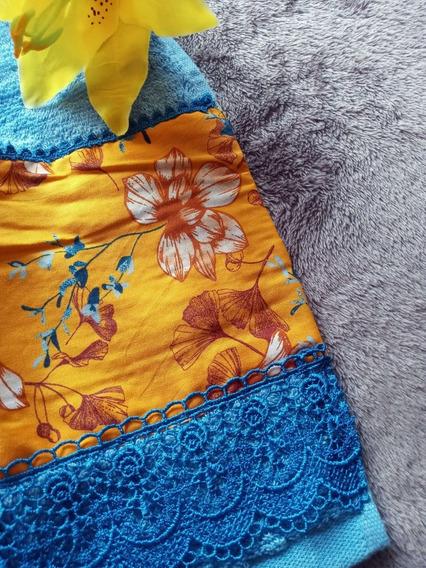 Toalha De Rosto Fio Egípcio Azul 48x80cm Tricoline E Guipir