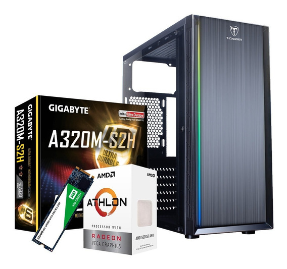 Pc Gamer Amd Athlon 3000g 8gb Placa De Vídeo Vega3 Ssd 240gb