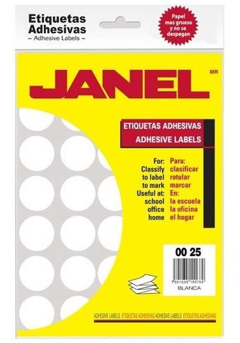Etiquetas Blancas Janel No.12 De 25 Mm Diametro 1 Paquete