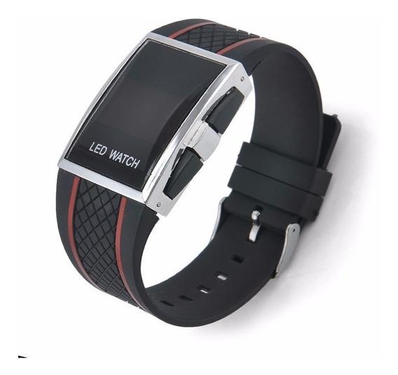 Relogio Masculino Sport Black Led Digital Iluminado Vermelho