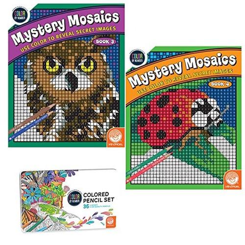 Imagen 1 de 2 de Color By Number Misterio Mosaicos Conjunto: Libros 3-4 Con L