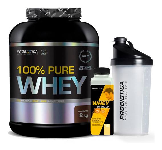 100% Pure Whey Protein 2kg - Probiótica - C/ Nf + Brindes