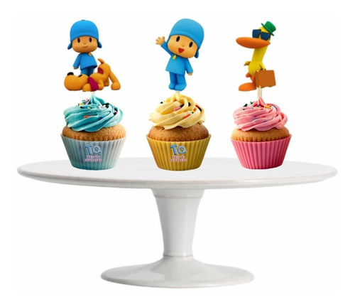Imagen 1 de 6 de Pocoyo Cupcake Toppers Adorno Para Muffins X10