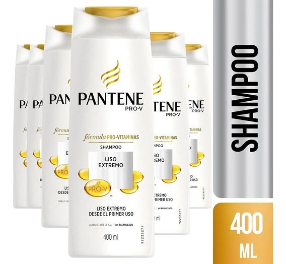 Pack De 6 Shampoo Pantene Pro-v Liso Extremo 400 Ml