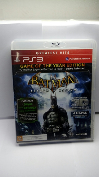 Jogo Ps3 Batman Arkham Asylum Edição Do Ano 3d Barato Raro!