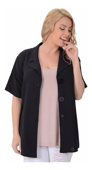 Camisaco Portofem De Algodón Rústico C/ Solapa. Talles Grand