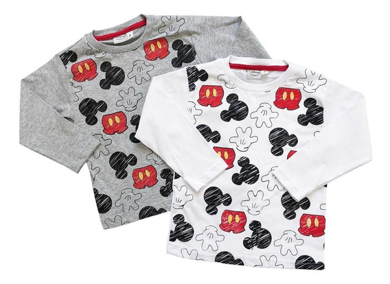Remera Manga Larga Bebe Nene Mickey Mouse, Original Disney