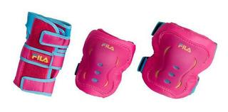 Kit De Proteção Bella Pink Infantil Patins Skate Fila