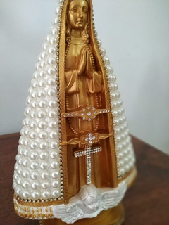 Nossa Senhora Aparecida, Dourada, Pérolas, 30cm