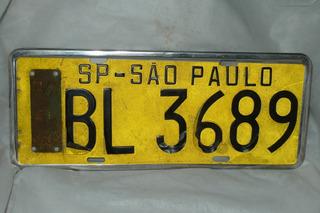 Placa Carro Amarela São Paulo Sp 70/71 Antiga Rara Original