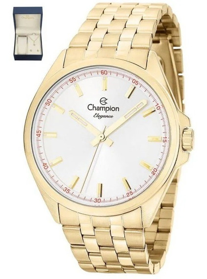 Kit Relógio Champion Feminino Dourado Colar Brinco Cn27705w