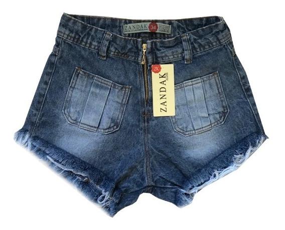 Kit 3 Shorts Jeans Feminino Sortidos Cintura Alta Hot Pant