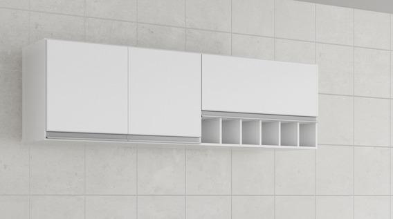 Armario Cozinha Prisma Com 6 Nichos 3 Portas Perfil Branco
