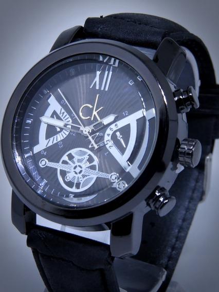 Relógio Ck Zeus Masculino Dourado Prata Couro Caixa Original
