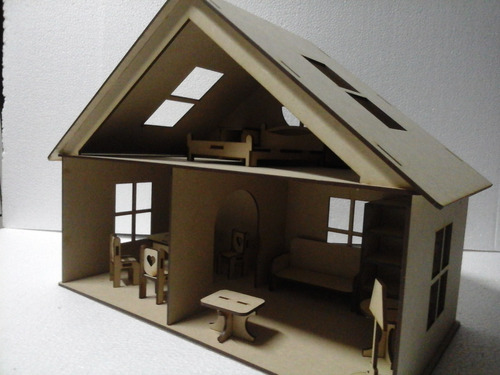 Casa Para Muñecas Con Set De Muebles Fibrofacil