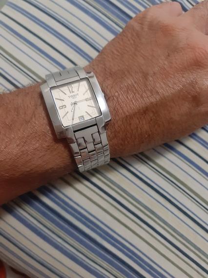 Relógio Tissot Qudrado Médio 34mm35mm Aço Original Com Data