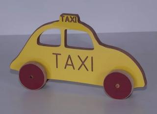 Brinquedo Educativo Carrinho Madeira Taxi Colorido Mfd Me...