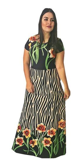 Vestido Longo Feminino Rodado Estampado Moda Evangelica Novo