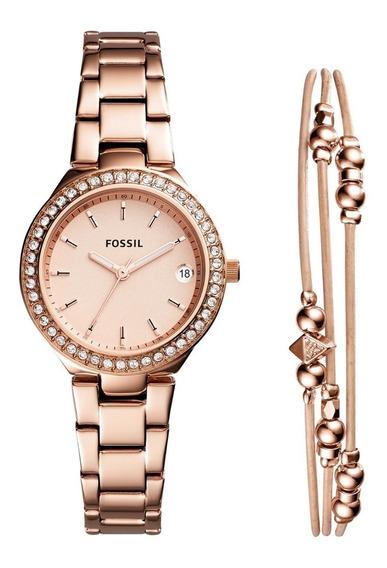 Relógio Fossil Kit Rosê Es4337set
