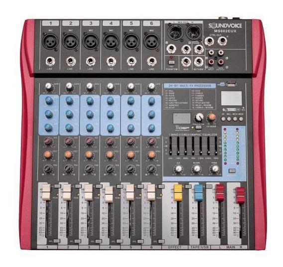 Mesa De Som Soundvoice Ms-602eux Bluetooth 6 Canais