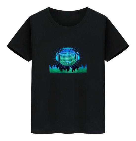 Camiseta Led Flash Activado Por Voz Para Hombre Y Mujer