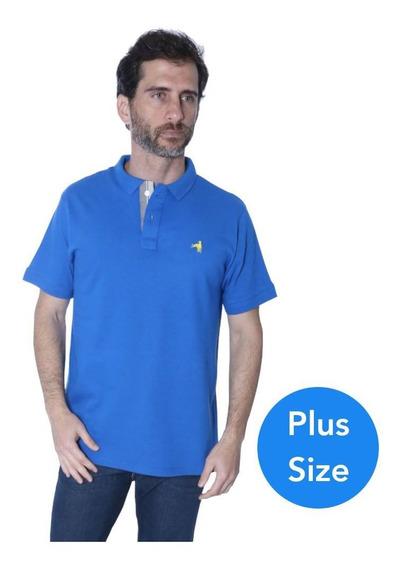 Camisa Polo Plus Size Hipica Play Elastano Azul Frete Grátis