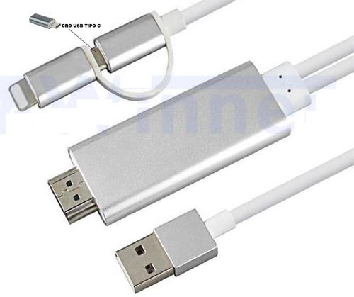 Imagen 1 de 8 de Cable 3en1 Lightning Y Tipo C A Hdmi Hdtv Para Android & Ios