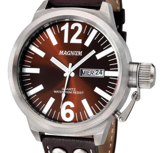 Relógio Masculino Magnum Original Pulseira Couro Ma31524v