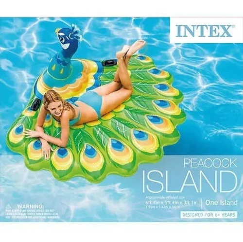 Flotador Pavo Real Grande Intex  Piscina Playa 1.93cm