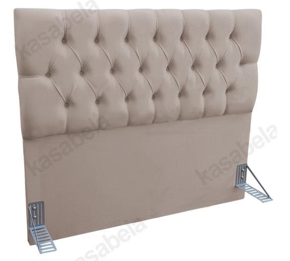 Cabeceira Estofada Para Cama Box Casal 120x140 Swede Bege