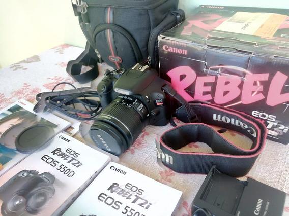Câmera Canon Rebel T2i + Cartão 8gb + 2 Baterias + Lente