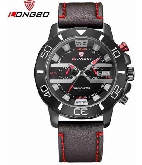 Relógio Masculino Analógico Couro Importado Preto E Vermelho
