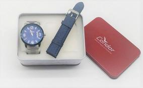 Kit Relógio Condor Aço Prata Visor Azul Co2115xv/k5a